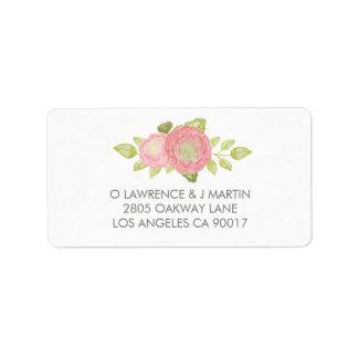 Ranunculus Floral Peach Watercolor Label