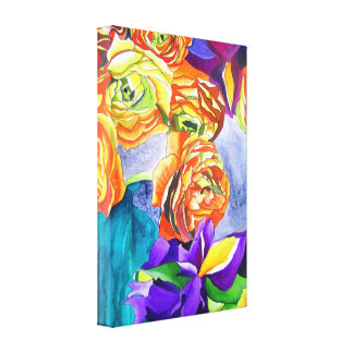 Ranunculus Flower original watercolour art Canvas Print