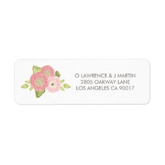 Ranunculus Peach Floral Blooms Return Address Label