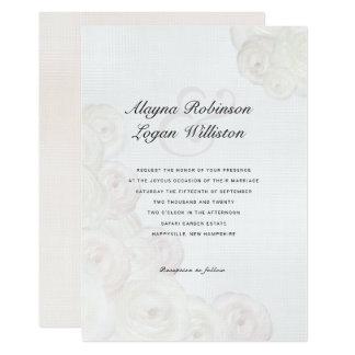 Ranunculus White Wedding Elegant Invitations