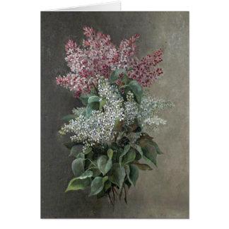 Raoul de Longpré Purple & White Lilac Flowers Card