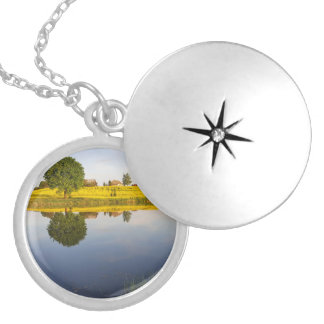 Rapeseed field locket necklace