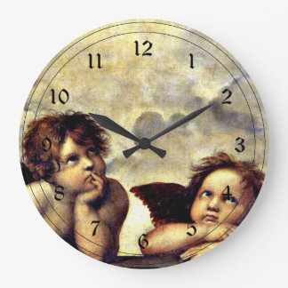 Raphael: Putti, Detail from the Sistine Madonna Large Clock