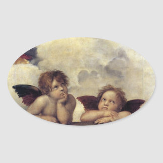 Raphael: Putti, Detail from the Sistine Madonna Oval Sticker