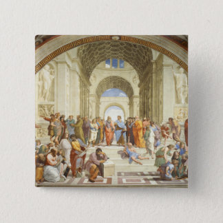 Raphael - The school of Athens 1511 15 Cm Square Badge