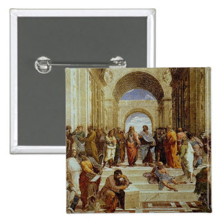 "Raphael's ""The School of Athens"" Detail circa 1511 15 Cm Square Badge"