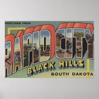 Rapid City, South Dakota - Large Letter Scenes Poster