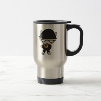 Rapper Cat in Bell Hat Stainless Steel Travel Mug