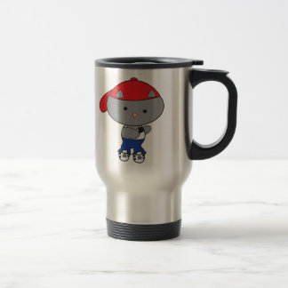 Rapper Cat in Tank Top Travel Mug