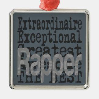 Rapper Extraordinaire Silver-Colored Square Decoration