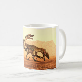 Raptor Dinosaurs in the Desert Coffee Mug
