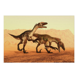 Raptor Dinosaurs in the Desert Poster