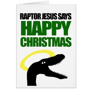 Raptor Jesus says Happy Christmas Greeting Card