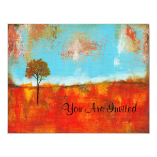 Rapture Abstract Landscape Tree Art Painting 11 Cm X 14 Cm Invitation Card