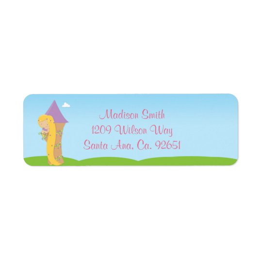 Rapunzel Birthday Party Return Address Label