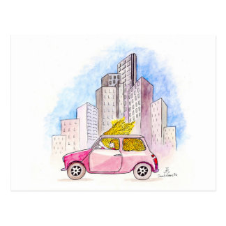 Rapunzel Drives a Mini Cooper Postcard