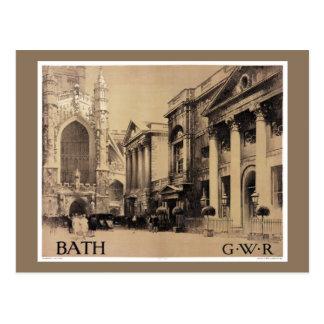 Rare Bath Vintage Travel Poster Restored Postcard