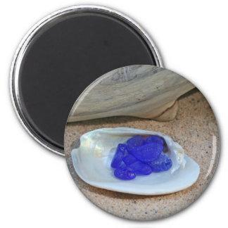 Rare Cobalt Blue Beach Glass 6 Cm Round Magnet
