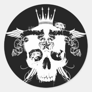 RARE_Destroyed. blk stkr Classic Round Sticker