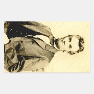 RARE President Abraham Lincoln STEREOVIEW VINTAGE Rectangular Sticker