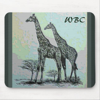 Rare Retro African Giraffes in High Color Design Mouse Pad