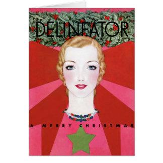RARE VINTAGE CHRISTMAS ART DECO CHRISTMAS GREETING CARD