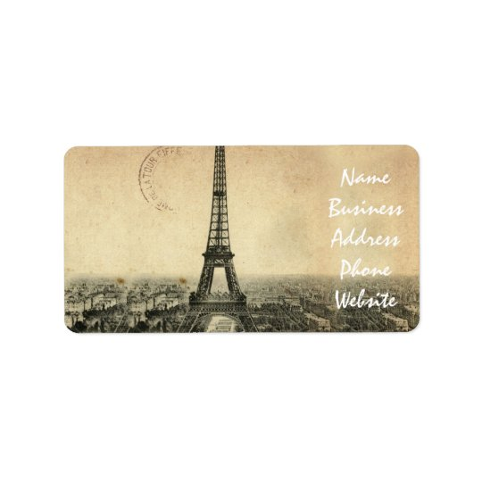 Rare vintage postcard with Eiffel Tower in Paris Address Label