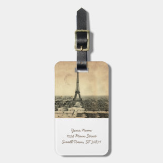 Rare vintage postcard with Eiffel Tower in Paris Luggage Tag