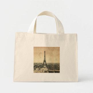 Rare vintage postcard with Eiffel Tower in Paris Mini Tote Bag