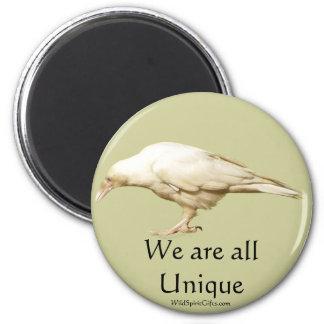 Rare White Raven ~ 2010 6 Cm Round Magnet