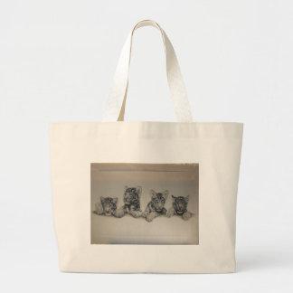 Rare White Tiger Cubs Large Tote Bag
