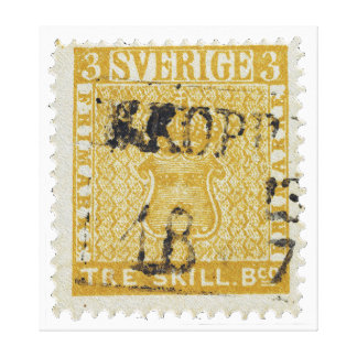 Rare Yellow 3 Skilling Stamp of Sweden 1855 Canvas Prints