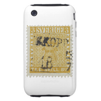 Rare Yellow 3 Skilling Stamp of Sweden 1855 Tough iPhone 3 Covers