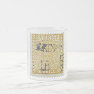 Rare Yellow 3 Skilling Stamp of Sweden 1855 Frosted Glass Mug
