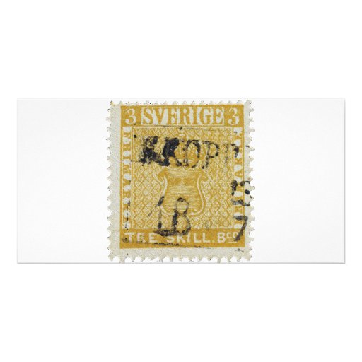 Rare Yellow 3 Skilling Stamp of Sweden 1855 Customized Photo Card