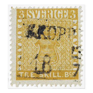 Rare Yellow 3 Skilling Stamp of Sweden 1855 Photo Art