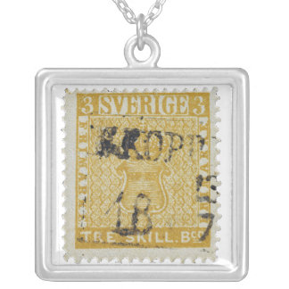 Rare Yellow 3 Skilling Stamp of Sweden 1855 Square Pendant Necklace
