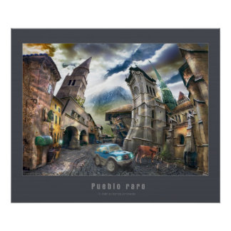 Raro Pueblo | Poster with gray frame