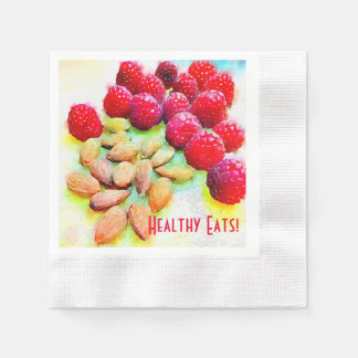 Raspberries and Almonds Watercolor Disposable Napkins