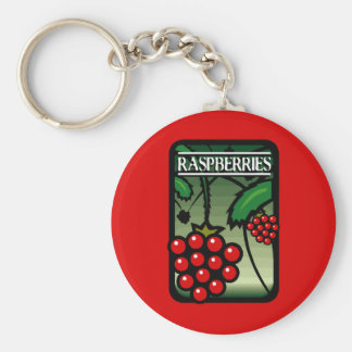 Raspberries Basic Round Button Key Ring