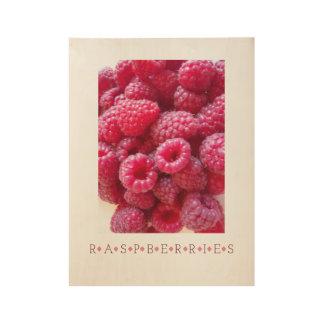 Raspberries Kitchen Art Wood Poster