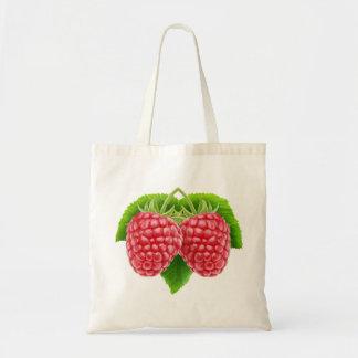 Raspberries on a leaf budget tote bag