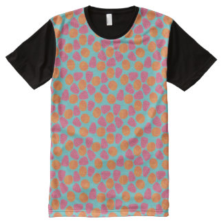 Raspberries Tangerines on Bright Turquoise Blue All-Over Print T-Shirt