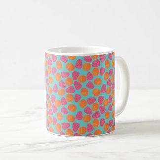 Raspberries Tangerines on Bright Turquoise Blue Coffee Mug