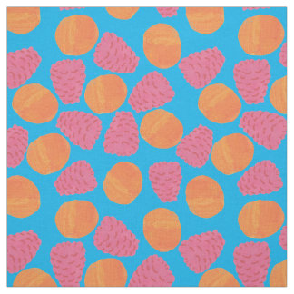 Raspberries, Tangerines on Bright Turquoise Blue Fabric