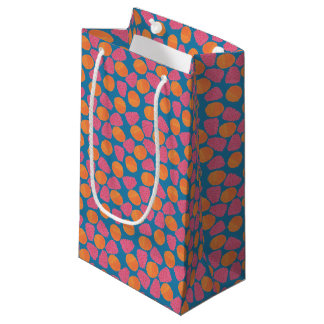 Raspberries, Tangerines on Bright Turquoise Blue Small Gift Bag
