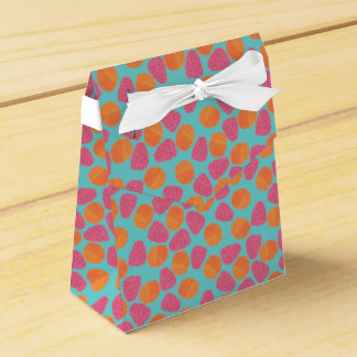 Raspberries Tangerines on Bright Turquoise Blue Wedding Favour Boxes