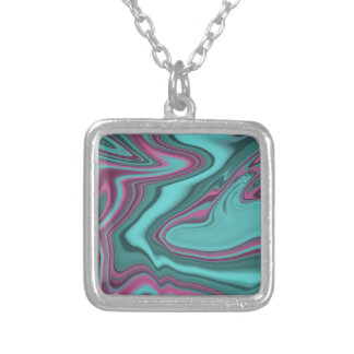 raspberry and aqua agate silver plated necklace