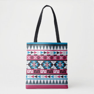 Raspberry and Blue Aztec Geometric Pattern Tote Bag