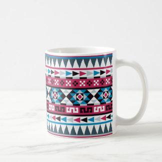 Raspberry and Blue Aztec Pattern Coffee Mug